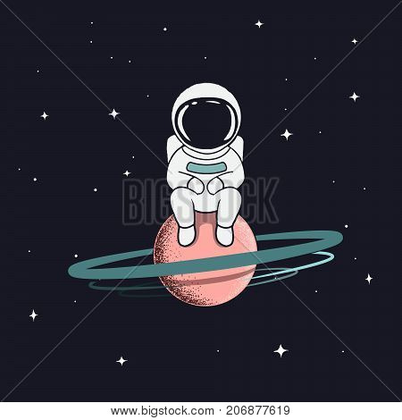 astronaut sits on saturn.Cute spaceman alone in outer space.Prints design.Childish vector illustration