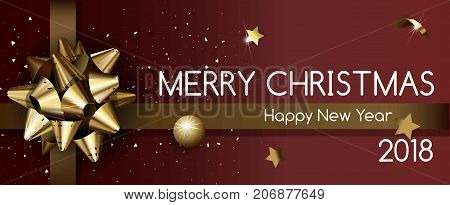 Merry Christmas and Happy New Year 2018 poster with gold shiny bow, decorative ball, small stars and confetti pieces vector illustration on maroon background. Big holiday banner with congratulations.