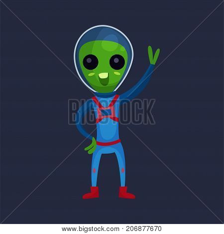 Funny green alien with big eyes wearing blue space suit waving his hand, alien positive character cartoon vector Illustration on a dark blue background