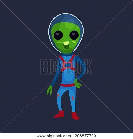 Friendly green alien with big eyes wearing blue space suit, alien positive character cartoon vector Illustration on a dark blue background