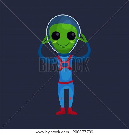 Smiling green alien with big eyes wearing blue space suit standing with his arms raised, alien positive character cartoon vector Illustration on a dark blue background