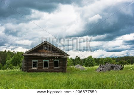 Decaying house in a non-existent village Burdovo Kostroma oblast Russia.