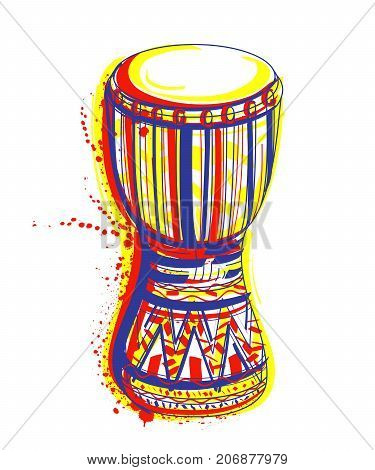 Bongo drum with splashes in watercolor style. Colorful hand drawn vector illustration