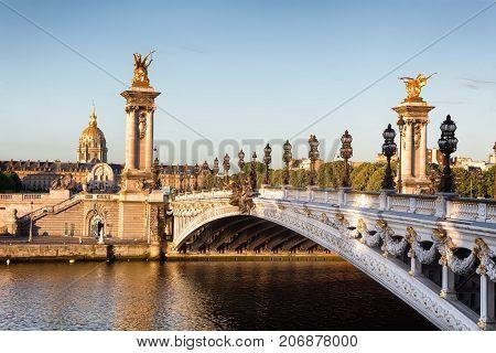 Empty Alexander III bridge in Paris in the early morning, France