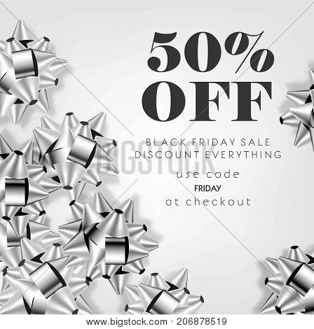 Black Friday sale discount promo offer poster or shop 50 percent price off advertising flyer and coupon. Vector design of silver gift bows on sparkling glitter background