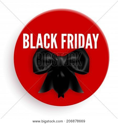 Black Friday promotional emblem with bow made of silk ribbon on big red circle isolated realistic vector illustration on white background. Grandiose discount for winter holidays advertisement.