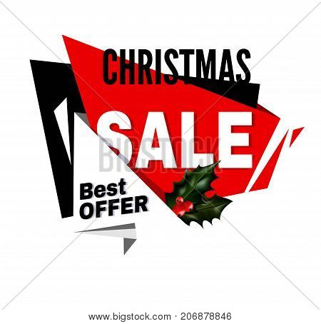 Christmas sale best offer promotional emblem with holly plant isolated cartoon flat vector illustration on white background. Discount for winter holidays to buy gifts by cheap price advertisement.