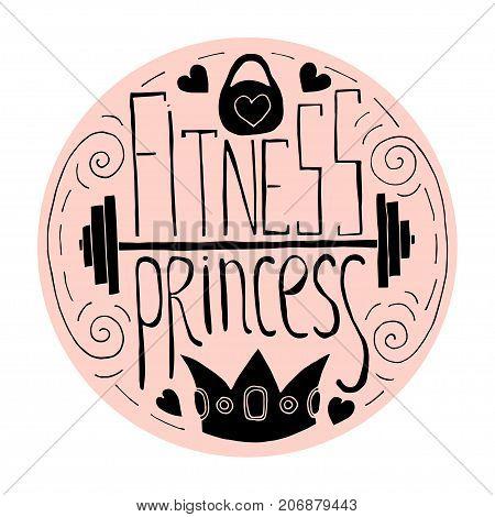 Fitness Princess Hand Drawn Circle