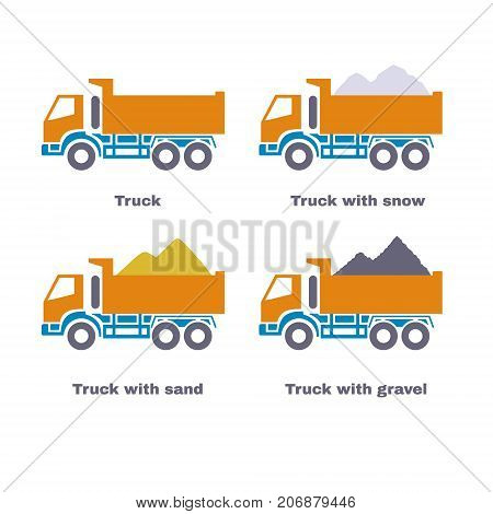 Truck profile, flat icons set. Lorry with sand, snow and gravel. Vector illustration.