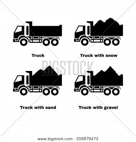 Truck silhouette. Black icons set. Lorry with sand, snow and gravel. Vector illustration.