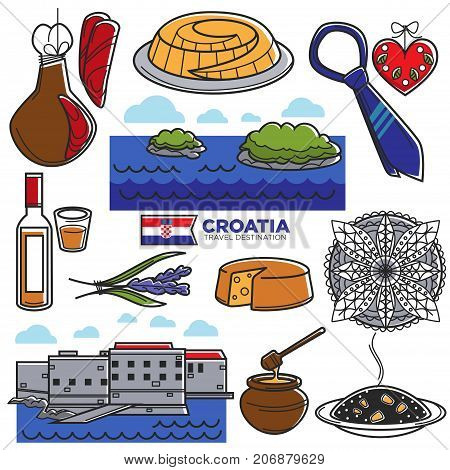 Croatia travel tourism famous landmark symbols and tourist sightseeing attractions. Croatian flag, drink and food or traditional musical instruments and architecture buildings. Vector isolated icons