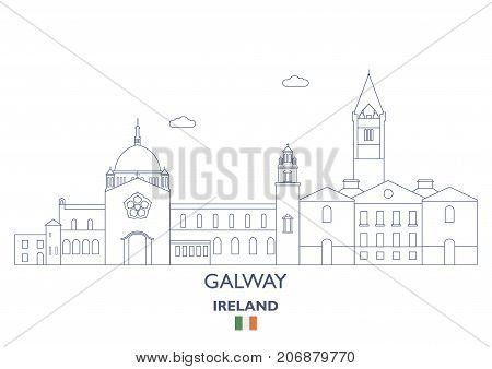 Galway Linear City Skyline Ireland. Famous places