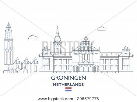 Groningen Linear City Skyline Netherlands. Famous places