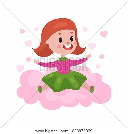 Sweet redhead little girl sitting on a pink cloud surrounded by pink hearts, kid fantasizes and dreams cartoon vector Illustration on a white background
