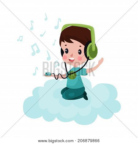 Cute little boy sitting on a cloud and listening to music, kid fantasizes and dreams cartoon vector Illustration on a white background