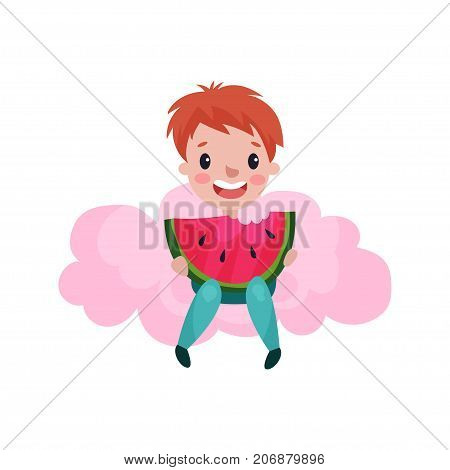 Cute little boy sitting on a pink cloud and eating watermelon, kid fantasizes and dreams cartoon vector Illustration on a white background