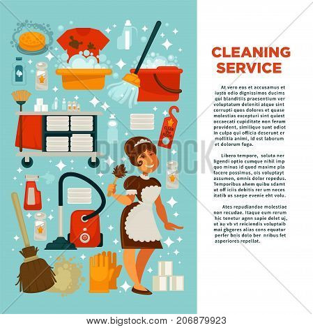 House cleaning service promotional banner with big text, maid in uniform and equipment for work with powerful cleaners in bottles isolated cartoon flat vector illustrations on light blue background.