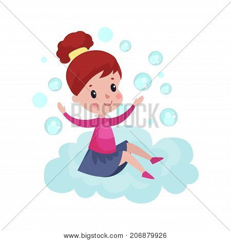 Sweet little girl sitting on a cloud and playing with soap bubbles, kid fantasizes and dreams cartoon vector Illustration on a white background