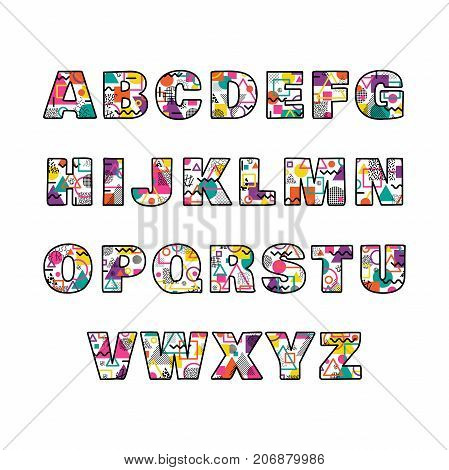 Uppercase alphabet in memphis style. Colorful decorative geometric font. Vector illustration.