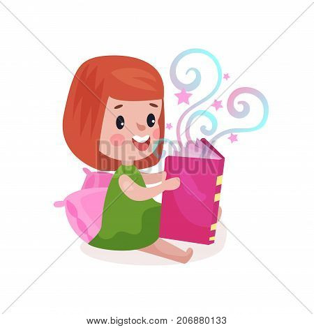 Sweet little girl sitting on a pillow and reading fairytale book, kids imagination concept colorful cartoon vector Illustration on a white background