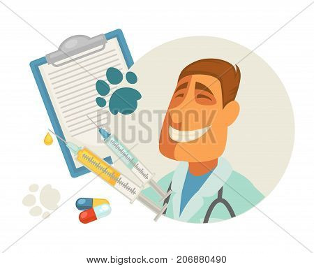 Pet vet or animal veterinary doctor or veterinarian clinic flat design. Vector vet profession man, pills or treatment and diagnosis or pet health prescription with paw print for medical infographic