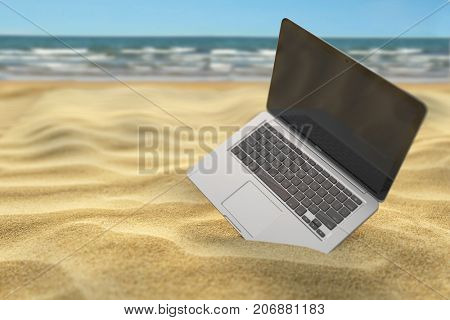 Computer laptop in the sand of the sea or ocean beach. Freelance or expatriation concept. 3d illustration