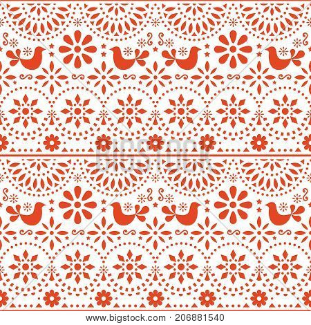 Mexican folk art vector seamless pattern with birds and flowers, red fiesta design inspired by traditional art form Mexico