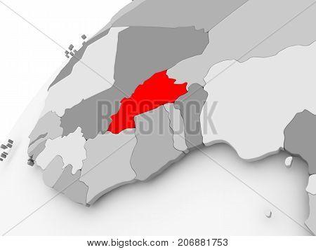 Burkina Faso On Grey Political Globe