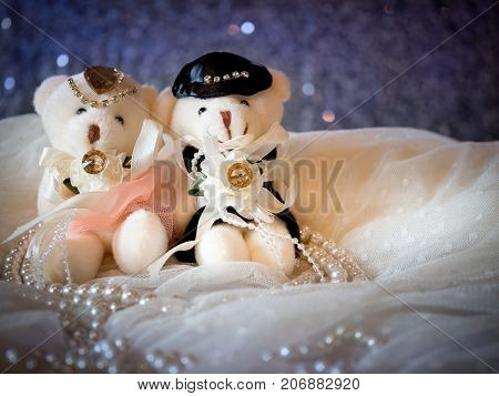 love concept : couple teddy bears in wedding dress for valentine greeting card with bokeh background. love concept wallpaper. wedding invitation card