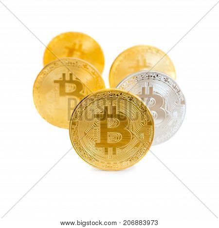 Stack Of Golden Bitcoins