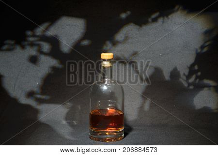 Whisky Bottle Behind Start And The Whole World