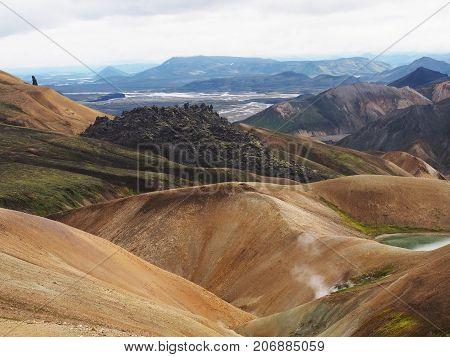 Colorful mountains at Landmannalaugar - start of Laugavegur trail Iceland.