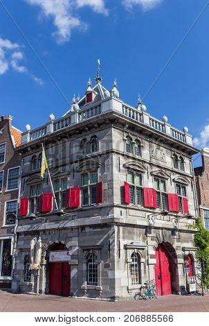 HAARLEM, NETHERLANDS - SEPTEMBER 03, 2017: Historic weigh house in the old center of Haarlem Netherlands