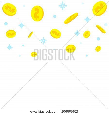 Golden dollar coins falling down with snow on white background. Fundraising success business concept. Financial contribution. Mobile payments banner. Investment, saving symbol. Vector illustration.