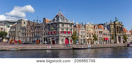 HAARLEM, NETHERLANDS - SEPTEMBER 03, 2017: Panorama of the colorful Spaarne canal in Haarlem Netherlands