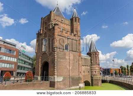 HAARLEM, NETHERLANDS - SEPTEMBER 03, 2017: Old city gate Amsterdamse Poort in Haarlem Netherlands
