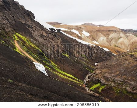 Colorful mountains and thermal Springs in the Landmannalaugar valley Iceland