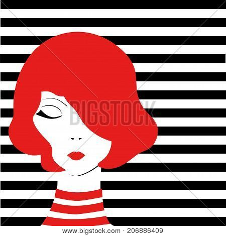 Redhead fashion pop-art girl on black and white stripped background. Stock vector illustration of glamour lifestyle in minimalistic style.