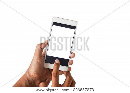Closed Up Two Hands And Pressing Photo Capture Buttons On Blank Space Smart Phone.