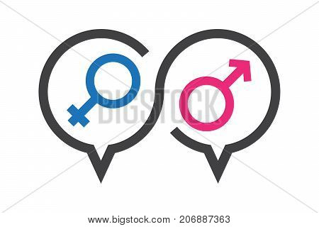 Vector illustration talk icon about sex in discussion knowledge about sex education.