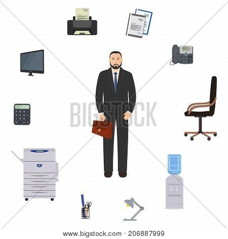 Office worker is surrounded by stationery and office objects. There is a monitor, a printer, a telephone, a calculator, chair, copy machine, lamp and other objects in the picture. Vector illustration