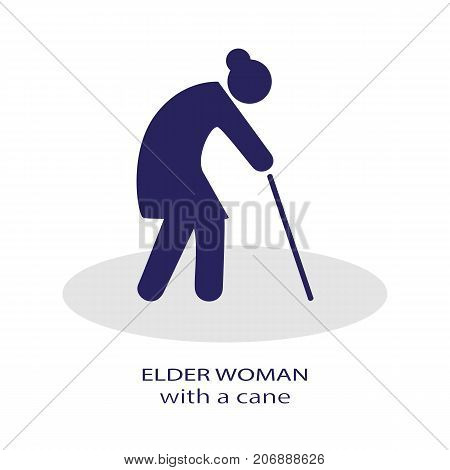 Elder woman Icon Illustration design. Elder dark Graphic Symbol Vector Illustration.