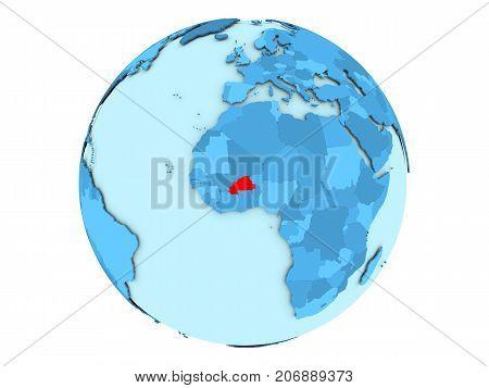 Burkina Faso On Blue Globe Isolated