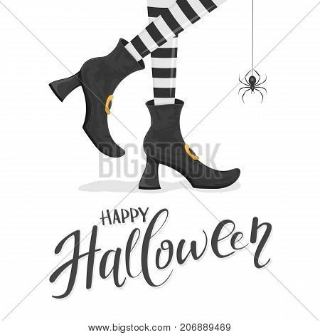 Text Happy Halloween with witches legs in black shoes and spider on white background, illustration.