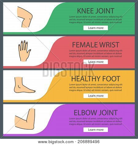 Body parts web banner templates set. Knee, woman's hand, foot, elbow joint. Website color menu items. Vector headers design concepts