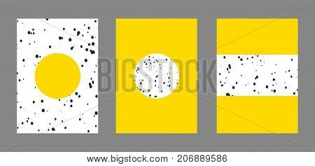 Cover design. Set of typographical templates for print covers of books, reports, albums, magazines notebooks. Minimalistic flat, memphis style with dots, circles, geometric shapes. Abstract background