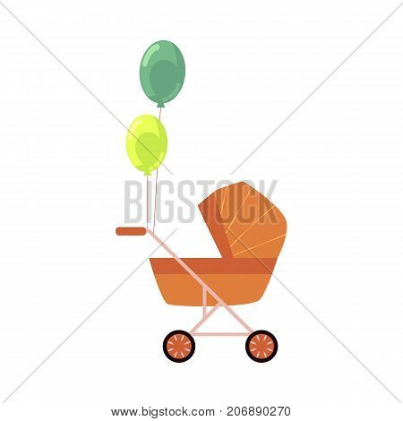 vector flat cartoon baby carriage or stroller, pram perambulator with congratulatory air colored balloons . Isolated illustration on a white background.