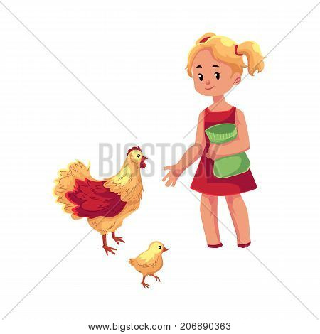 vector flat cartoon young teen girl feeding domestic birds - chickens and chick. Children at farm concept. Isolated illustration on a white background.