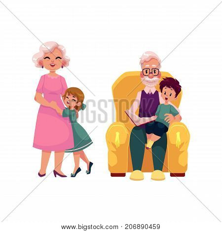 vector flat grandparents and children set. Grandson sitting at grandfather's knees reading book at armchair, grandmother hugging with small girl . Isolated illustration on a white background.