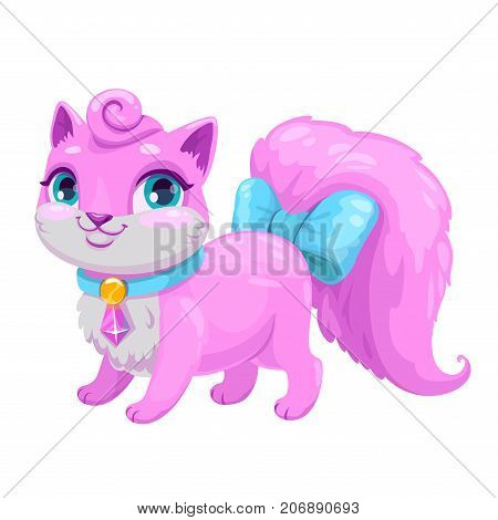 Little cute cartoon kitty princess. Vector adorable kitten icon. Fancy pink cat illustration.